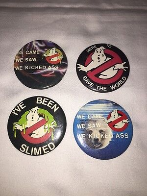 4 Vintage 1984 Ghostbusters Pins Columbia Pictures Promo 80s Movie Advertising