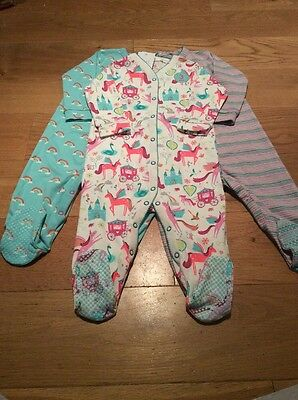 Next Baby Girls Unicorn Sleepsuits 9-12 Months BNWT - Next Baby Babygrows