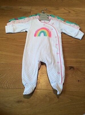 Next Baby Girls Rainbow Sleepsuits First Size BNWT - Next Baby Babygrows