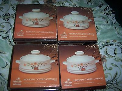 Countryside Stoneware Collection Individual Covered Casserole 4 Pc