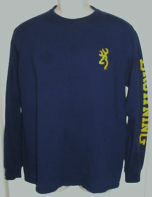 BROWNING Classic Logo Sleeve T-Shirt - Long Sleeve - Men's Size Large Blue GUC