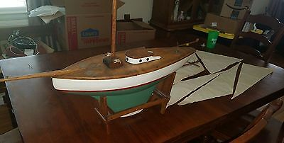 Vintage Antique Pond Boat Yacht Sail Boat very old