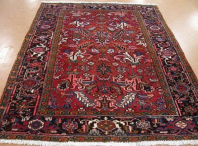 6 x 9 Antique PERSIAN HERIZ Serapi Tribal Hand Knotted Wool RED Oriental Rug