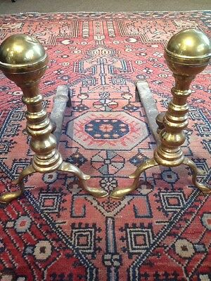 Pair of Antique American Federal Period Brass Andirons Fire Dogs Original