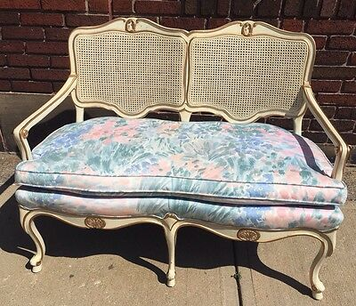 Vintage French Provincial Shabby Chic Caned Sofa Couch Settee