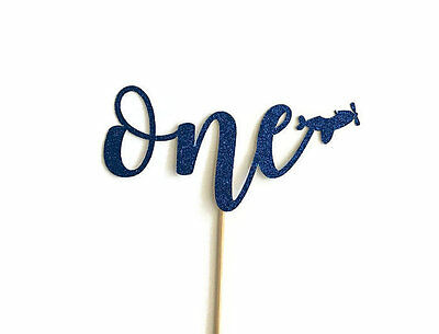 One / 1st Birthday Cake / Cupcake Topper w/Plane - Blue Glitter (ASSEMBLED)