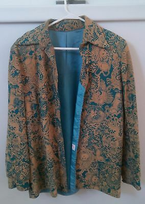 Vintage Lilly Pulitzer jacket amazing turquoise and tan faux suede patteern