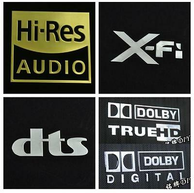 DOLBY DIGITAL TRUE HD Hi-Res Audio Dts X-Fi stickers autocollant metal silver