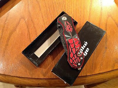 "Spider Man 8"" Red Black web Spring Assisted Pocket Knife W/ Belt Clip"