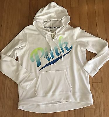 Victoria's Secret PINK white Hoodie w/ Turquoise Royal & Green Print NWT large L