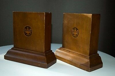 Vintage Heavy Fine Wood Bookends Inlaid Lamp Of Knowledge Motif. Graduate Gift!!