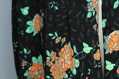 Lularoe Joy Vest  Size XL Black &n Gray with Orange, Peach and Green Flowers