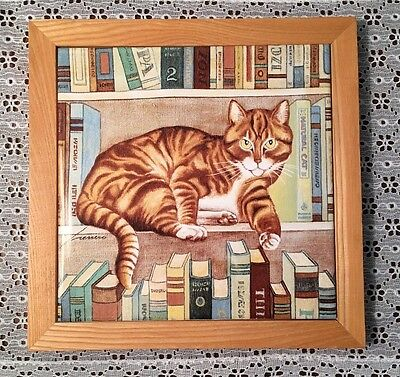 1982 Lowell Herrero Framed Large Cat Tile Wall Hanging or Trivet