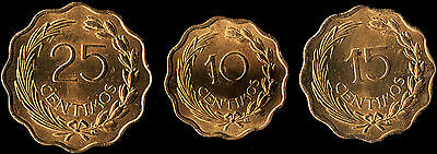Paraguay 3 Centimo coins - 10, 15 & 25 - All 1953 - Golden BU Unc