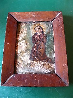 Original Antique Retablo On Tin Great Condition Framed Saint Kneeling On Clouds
