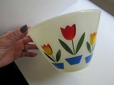 """Vintage Tulip Mixing Bowl Fire King Oven Ware 1950s Small 6 1/2"""""""