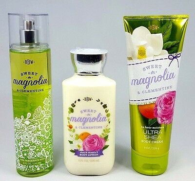 Bath and Body Works SWEET MAGNOLIA & CLEMENTINE Mist Lotion Cream 3 pc Set -