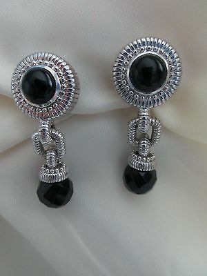 Judith Ripka Sterling Silver Black Onyx Omega Back Drop Dangle Earrings, Qvc