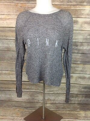 Victoria Secret Pink Knit Heathered Gray Grey Heart Long Sleeve T Sweater Xs