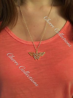 """Wonder Woman Logo Gold Plated Marvel Pendant Necklace 20"""" Chain N35"""