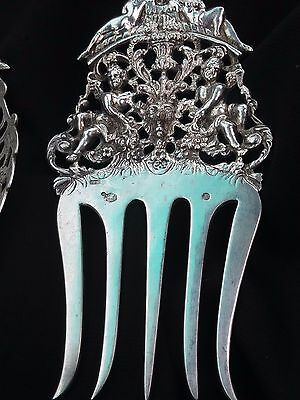 Large Ornate Heavy Silver Serving Fork And Spoon -Very High Quality -