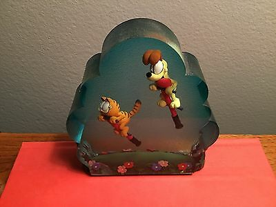 RARE Collectible Garfield the Cat & Odie on Pogo Sticks Resin Decor Paper Weight