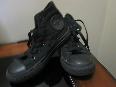 Converse All Star Youth Size 11 Black High Tops & Black Laces