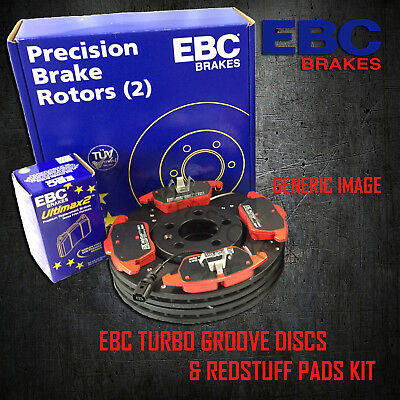 NEW EBC 256mm REAR TURBO GROOVE GD DISCS AND REDSTUFF PADS KIT PD12KR040