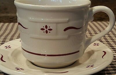 2 LONGABERGER Heritage Red Woven Traditions Pottery Coffee Mug, Cup Saucer SET