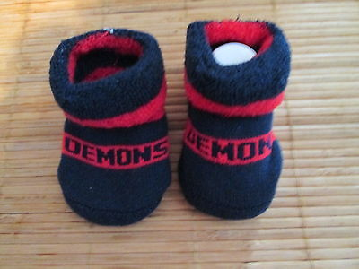 Baby's  Demons Afl  Socks. Size 0 -6 Months. New No Tags