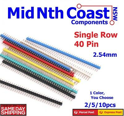 5/10pc x Single Colour Straight Male Single Row 40 Pin Breakable Headers  2.54mm
