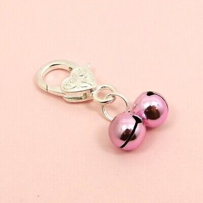 PET Dog/Cat COLLAR 10mm Jingle BELL with HEART Lobster Clasp CLIP On Bell CHARM