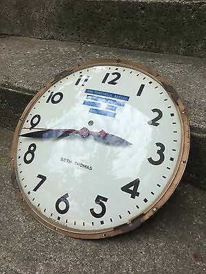 Vintage Seth Thomas Electric Industrial Wall Clock Face Glass For Parts Repair