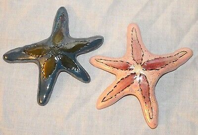 "Two Heather Goldmine 6"" Starfish, Pink & Blue, Blue Sky Clayworks"