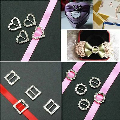 Decor 10pcs/Set Wedding Supplies Ribbon Slider DIY Carft Rhinestone Buckle