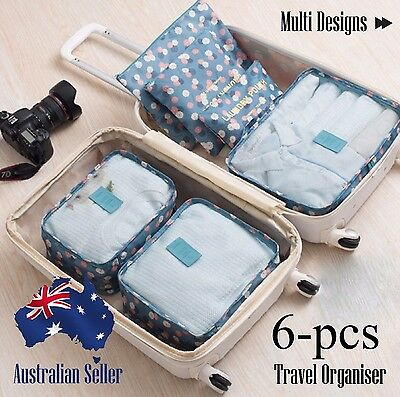 Travel Organiser Luggage 6pcs Sets Packing Cube Pouch Suitcase Storage Bags