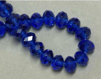 A Hot Faceted Crafts Glass Rondelle Crystal Beads Jewelry Bicone Dark Blue 8MM