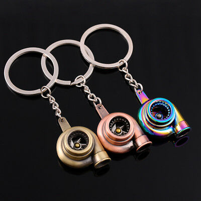 Auto Car Turbo Keychain Sleeve Spinning Turbine Turbocharger Key Chain Keyfob