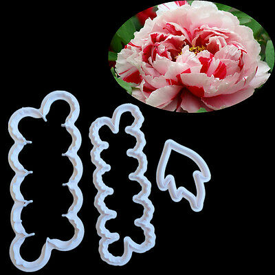 3x Peony Petal Flower Cake Cutter Fondant Icing Mold Sugarcraft Decorating Mould