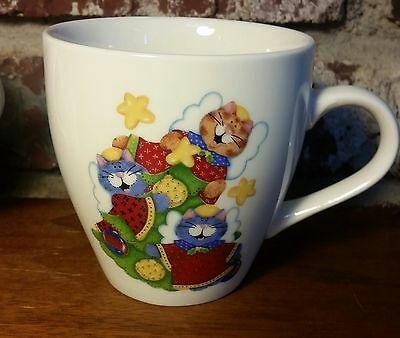"Royal Norfolk CAT ANGEL Mug,  3 3/4"", Folksy Art Trio on Both Sides, Christmas"