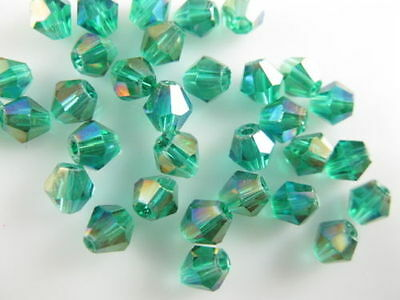 200pcs Peacock Green AB Glass Crystal Faceted Bicone Beads 4mm Spacer Findings