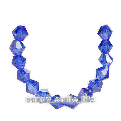 200pcs Dark Blue AB Glass Crystal Faceted Bicone Beads 4mm Spacer Findings