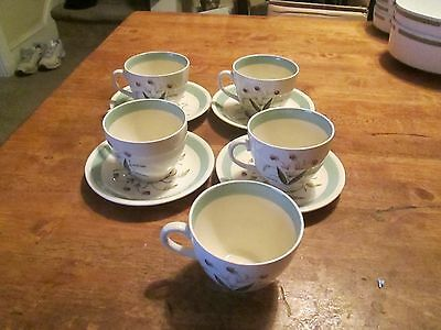"""Alfred Meakin England """"hedgerow"""" Lot Of 9 Pieces 5 Cups And  4 Saucers"""