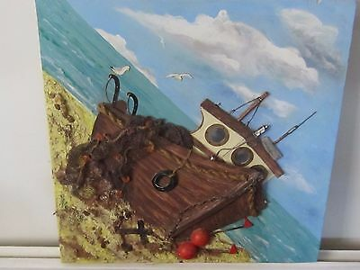 Original 3D Mixed Media Fishing Boat by A.Norris