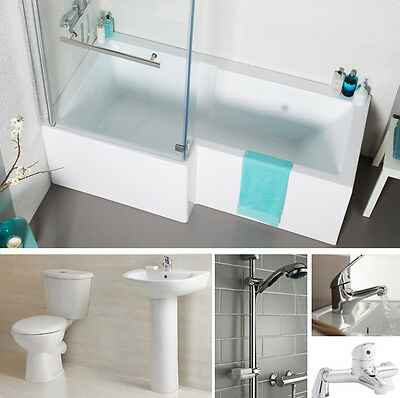 Full L Shower Bath Suite. Toilet, Basin, Taps, Shower System Left or Right Bath
