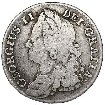 1743 Shilling - George Ii British Silver Coin