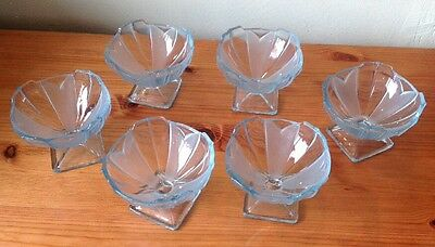 Six Vintage Light Blue Glass Dishes