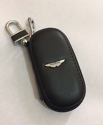 Aston Martin Leather Key Cover Case Holder Ring Chain Fob !