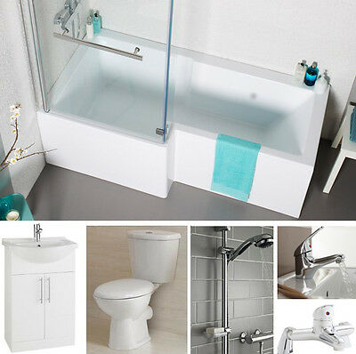 Full L Shower Bath Suite. Toilet, Vanity Unit & Basin, Taps, Shower System