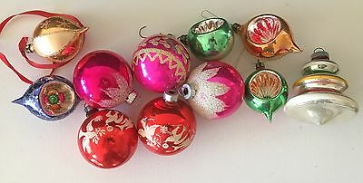 Vintage Christmas Balls Ornaments - Glass - Indents, Birds etc
